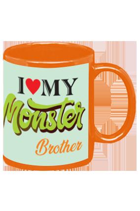 I Love My Monster Brother Orange Patch Mug