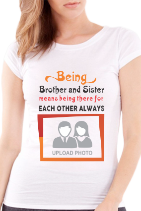 Being Brother and Sister Round Neck Half Sleeve Girl's White T-Shirt