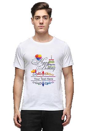 Happy Birthday Half Sleeves White Round Neck Cotton Effit T-Shirt