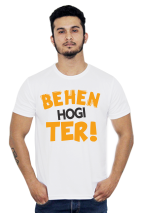 Roti Behen Hogi Teri Round Neck Dri-fit White T-shirt