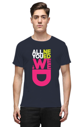 All You Need is Weed Navy Blue Round Neck Cotton Effit T-Shirt