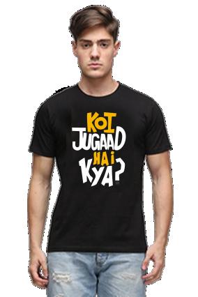 Koi Jugaad Hai Kya Black Round Neck Cotton Effit T-Shirt
