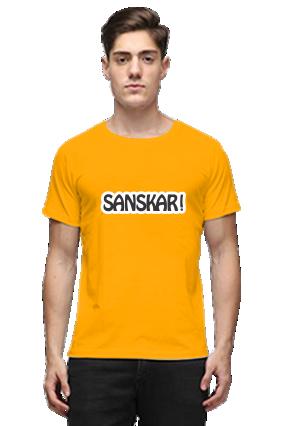 Sanskari Half Sleeves Yellow Round Neck Cotton Effit T-Shirt