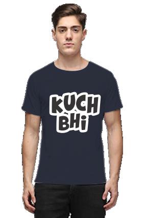 Kuch Bhi Navy Blue Round Neck Cotton Effit T-Shirt