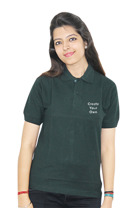 Create Your Own Dark Green Cotton Girl Polo T-Shirt