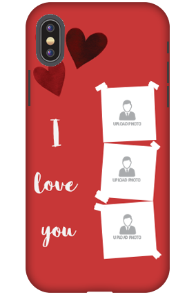 Personalized 3D-Apple iPhone X Beautiful Hearts Customized Plastic Mobile Cover