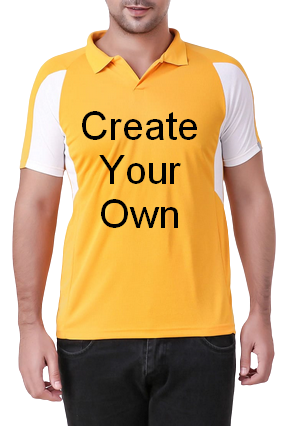 160GSM - Create Your Own Yellow Sport Collar T-Shirt