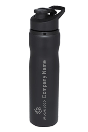 Black Curved Steel Bottle 700ml