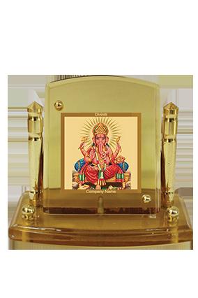 Gold Plated Ganesha Car Frame Acf P+