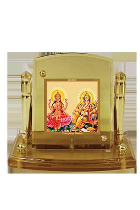 Gold Plated Laxmi Ganesh Car Frame Acf P+