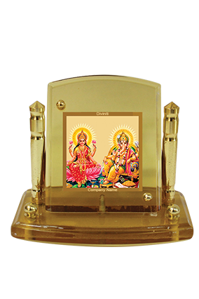 Customized Gold Plated Laxmi Ganesh Car Frame Acf P+