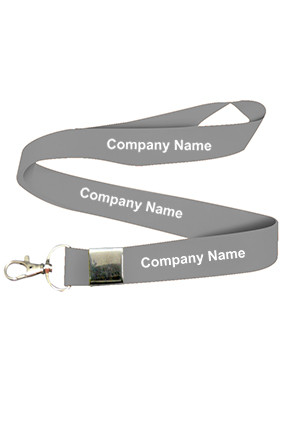 Printed Company Name Gray Lanyard
