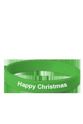 Happy Christmas Green Silicon Wristband