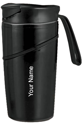 H139 - Mighty Stainless Steel Magic Coffee Mug With Silicon Strap - Black