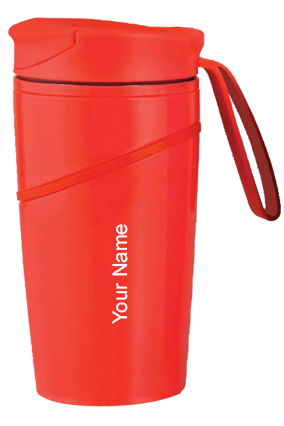 H139 - Mighty Stainless Steel Magic Coffee Mug With Silicon Strap - Red