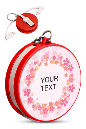 Your Text Keychain with Data Cable