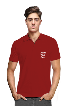 Create Your Own Sportsman Collar Mehroon T-Shirts