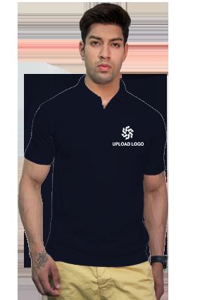 160GSM - Create Your Own Navy Blue Collar Matty T-Shirt
