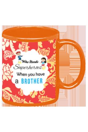 Brothers are Superheroes Orange Patch Mug