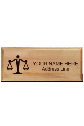 Law Pine Wood Nameplate