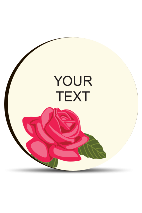 Rose Round MDF Fridge Magnet