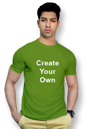 110GSM - Create Your Own Parrot Green Round-Neck Dry-Fit T-Shirt