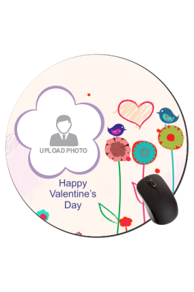 Floral Twist Valentine Day Round Mouse Pad