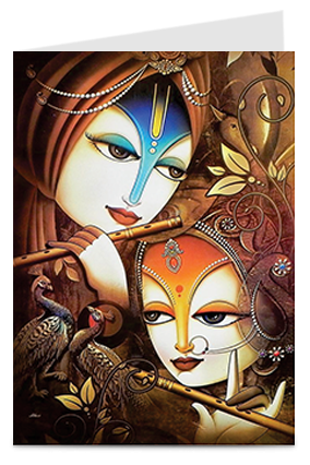 Artistic Radha Krishna Wedding Invitation Card