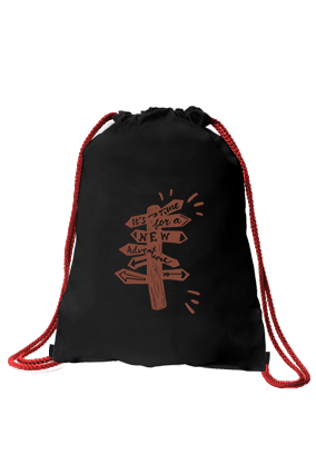 Customized New Beginning Black Gym Sack Bag