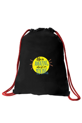Forever Young Black Gym Sack Bag