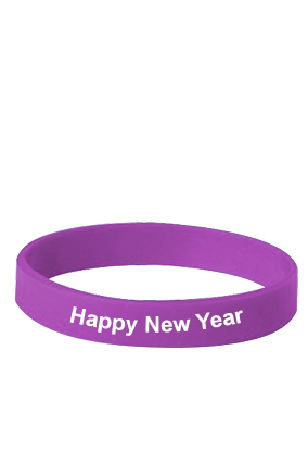 Happy New Year Purple Silicon Wristband