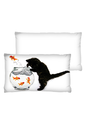 Cat is Fish Pot Rectangular White Cushion
