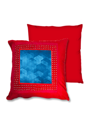Blue Abstract Pattern Red Square Cushion
