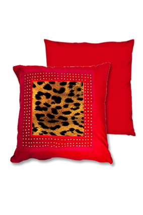 Lion Golden Fur Red Square Cushion