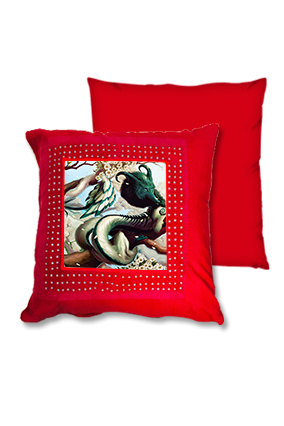 Fantasy Gaming Character Red Square Cushion
