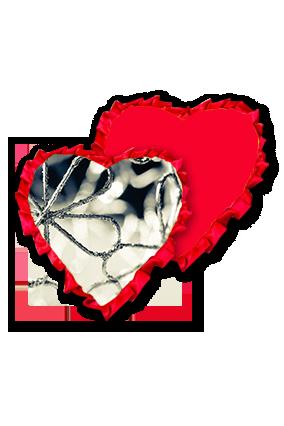 Seamless Line Silver Flower Velvet Heart Shape Red With Red Ribbon Cushion