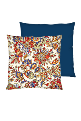 Floral Background Polyester Square Shape Navy Blue Cushion