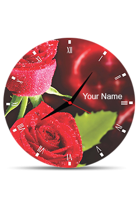 Blossom Rose Wall Clock Circle Without Boarder