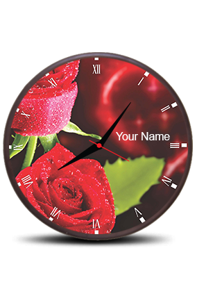 Blossom Rose Wall Clock Circle With Boarder