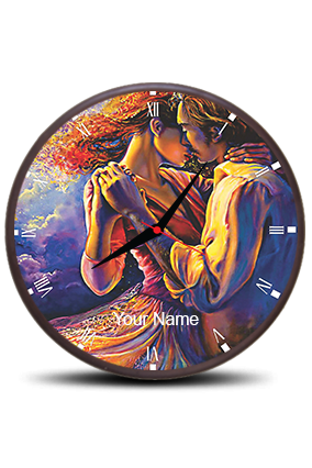 Couple Love Wall Clock Circle With Boarder