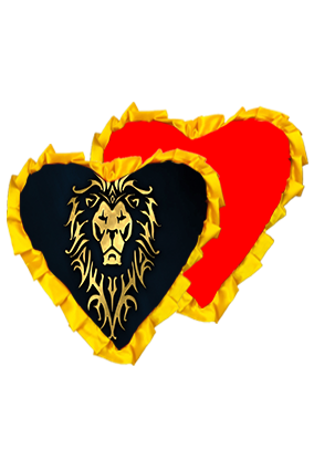 Golden Shiny Lion Velvet Heart Shape Red With Yellow Ribbon Cushion