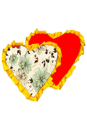 Floral Background Velvet Heart Shape Red With Yellow Ribbon Cushion