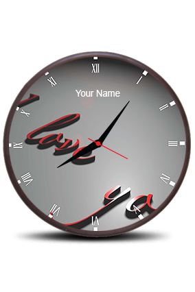 I Love You Wall Clock Circle With Heart