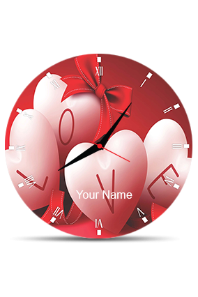 Heart And Love Wall Clock Circle Without Boarder