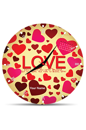 Red And Black Heart Wall Clock Circle Without Boarder