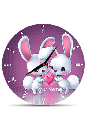 Adorable Bunnies Wall Clock Circle Without Boarder
