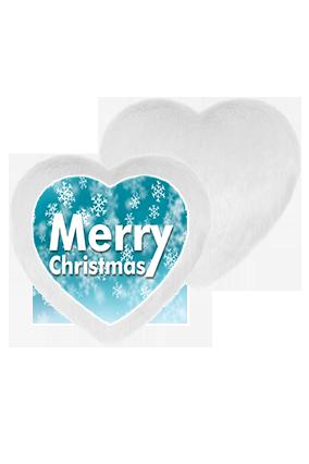 Merry Christmas Background Fur Heart Shape White LED Cushion