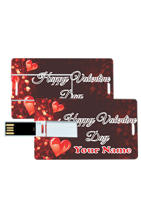 Customized Heart Design Valentine's Day Credit Card Pen Drives