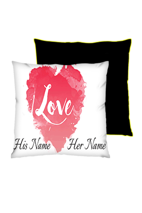 Water Color Heart Background Square Black With Yellow Piping Cushion