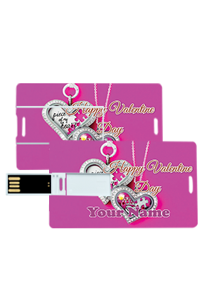 Pendent Heart Valentine's Day Credit Card Pen Drives